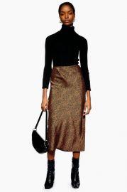 PETITE Spot Animal Satin Bias Midi Skirt at Topshop