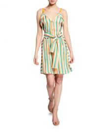 PINKO Andreina Striped Button-Front Dress at Neiman Marcus