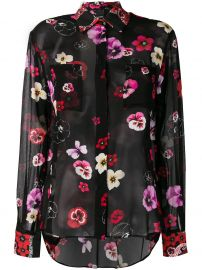 PINKO FLORAL SHEER FITTED BLOUSE - BLACK at Farfetch