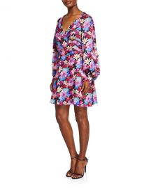 PINKO Long-Sleeve Floral Wrap Dress at Neiman Marcus