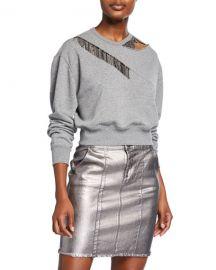 PINKOEmbellished Crewneck Sweatshirt w  Cutout at Neiman Marcus