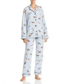 PJ Salvage Doggone Tired Dog Print Flannel Cotton Pajama Set Women - Bloomingdale s at Bloomingdales