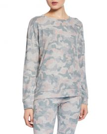 PJ Salvage Weekend Love Camo Lounge Sweater at Neiman Marcus