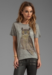 PJK PATTERSON J KINCAID Owl Classic Crew Tee in Heather Grey at Revolve
