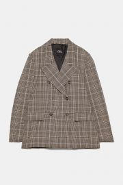 PLAID BLAZER at Zara
