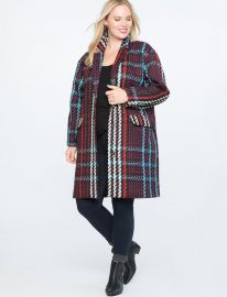PLAID CAR COAT at Eloquii