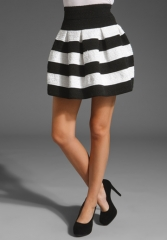 PLEASURE DOING BUSINESS Pleated Soutache Skirt in Black and White at Revolve