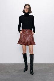 PLEATED FAUX LEATHER MINI SKIRT at Zara