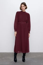 PLEATED MIDI DRESS at Zara