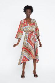 PLEATED PRINTED DRESS at Zara