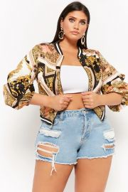 PLUS SIZE BAROQUE PICKUP SLEEVE BOMBER JACKET at Forever 21