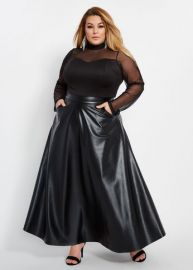 PLUS SIZE FAUX LEATHER MESH TOP MAXI DRESS at Ashley Stewart