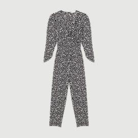 POSIMA Printed jumpsuit smocked at waist at Maje