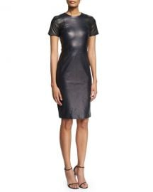 PRABAL GURUNG SHORT-SLEEVE STITCH-TRIM LEATHER SHEATH DRESS, NAVY/BLACK at Bergdorf Goodman