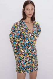 PRINTED MINI DRESS WITH PUFF SLEEVES at Zara