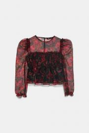 PRINTED ORGANZA BLOUSE at Zara
