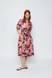 PRINTED DRESS WITH BELT at Zara