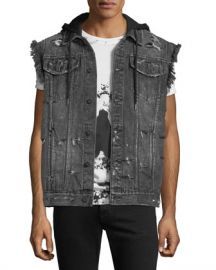 PRPS Denim Vest Jacket with Hoodie Combo at Neiman Marcus