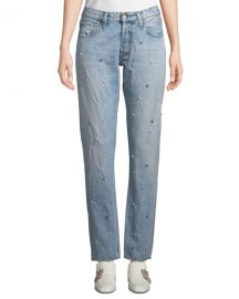 PRPS El Camino Tapered Boyfriend Jeans with Pearl Details at Neiman Marcus
