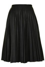 PU Pleated Midi Skirt at Topshop