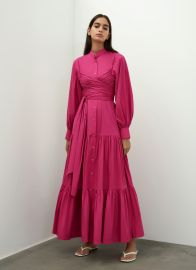 PUFF SLEEVES BELTED DRESS at Bouguessa