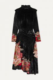 Paco Rabanne - Velvet-jacquard midi dress at Net A Porter