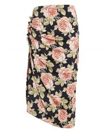 Paco Rabanne Ruched Rose Print Skirt at Intermix