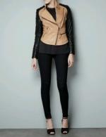Padded leather jacket from Zara at Zara
