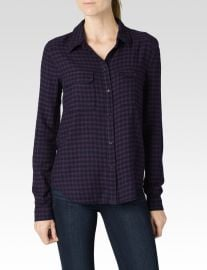 Paige Trudy Shirt in Kinsley Velvet Plum Dark Shadow at Paige