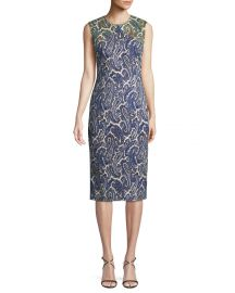 Paisley-Print Sleeveless Midi Sheath Dress at Neiman Marcus