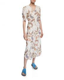 Paisley-Print Short-Sleeve Asymmetrical Midi Dress by See by Chloe at Bergdorf Goodman