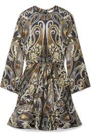 Paisley-print silk-blend Lurex mini dress at Net A Porter