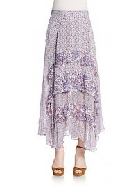 Paisley trimmed ruffled maxi skirt at Saks Off 5th