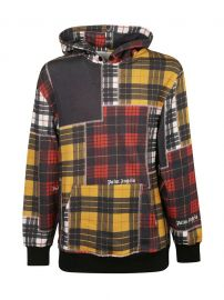 Palm Angels Patchwork Plaid Hoodie at Italist