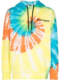 Palm Angels tie-dye logo-print cotton hoodie tie-dye logo-print cotton hoodie at Farfetch