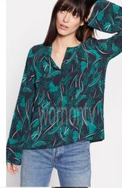Palm Print Henley Blouse by Equipment at Equipment