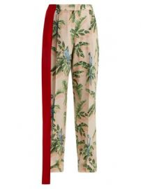 Palm print silk trousers at Matches