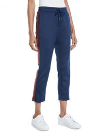 Pam  amp  Gela Cropped Drawstring Sweatpants w  Metallic Stripes at Neiman Marcus