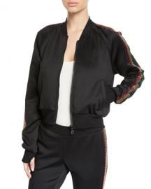 Pam  amp  Gela Cropped Track Jacket with Rhinestone Side Stripes at Neiman Marcus