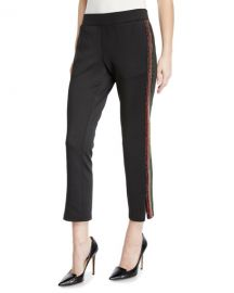 Pam  amp  Gela Cropped Track Pants with Rhinestone Side Stripes at Neiman Marcus