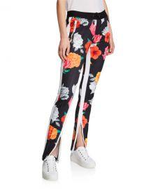 Pam  amp  Gela Fresh Cut Cigarette Floral Zip Track Pants at Neiman Marcus