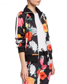 Pam  amp  Gela Fresh-Cut Floral-Print Zip-Front Track Jacket at Neiman Marcus