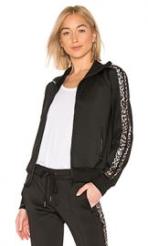 Pam  amp  Gela Leopard Stripe Track Jacket in Black from Revolve com at Revolve