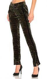 Pam  amp  Gela Side Slit Velvet Track Pant in Camo Print from Revolve com at Revolve