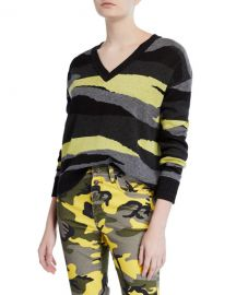 Pam  amp  Gela Slouchy Camo-Print V-Neck Sweater at Neiman Marcus