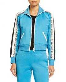 Pam  amp  Gela Snake-Print Stripe Cropped Track Jacket at Neiman Marcus