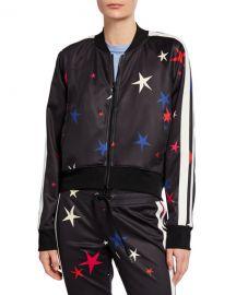 Pam  amp  Gela Star Side-Stripe Raglan-Sleeve Crop Track Jacket at Neiman Marcus