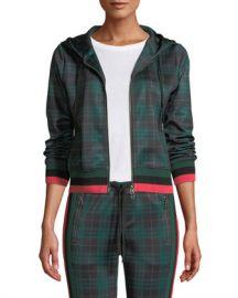 Pam  amp  Gela Stewart Hooded Plaid Cropped Track Hoodie Sweater at Neiman Marcus