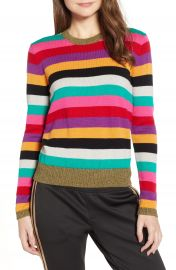 Pam  amp  Gela Stripe Metallic Trim Sweater at Nordstrom