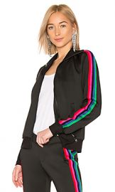 Pam  amp  Gela Track Jacket With Rainbow Stripes in Black from Revolve com at Revolve